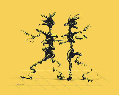 Dancing Couple 2 - Primrose Yellow Art Print by Manuel Sueess