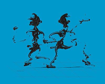 Dance Digital Art - Dancing Couple 3 - Aqua by Manuel Sueess