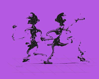 Dancer Digital Art - Dancing Couple 3 - Purple by Manuel Sueess