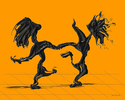 Pop Art Digital Art - Dancing Couple 8 - Orange by Manuel Sueess