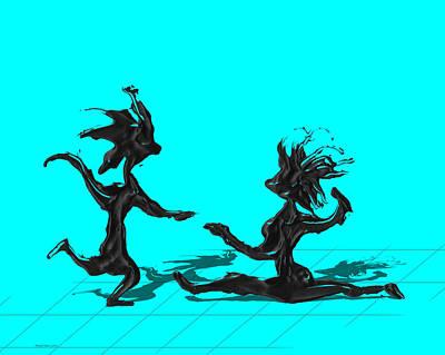 Dancer Digital Art - Dancing Couple 9 - Cyan by Manuel Sueess