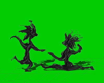 Dancer Digital Art - Dancing Couple 9 - Green by Manuel Sueess