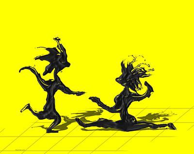 Dancing Couple 9 - Yellow Print by Manuel Sueess