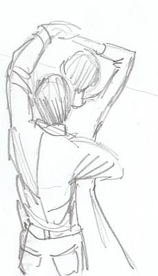Drawing - Dancing Couple Pencil Sketch by Mike Jory