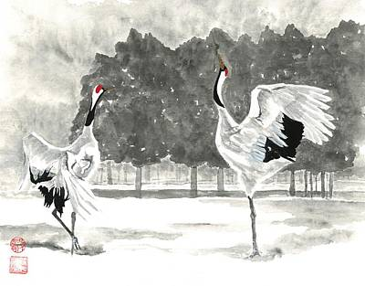 Painting - Dancing Crane II by Terri Harris