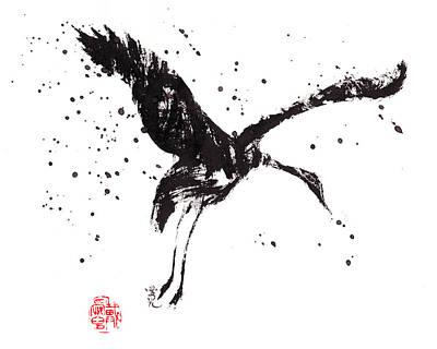 Ink Splatter Painting - Dancing Crane by Oiyee At Oystudio