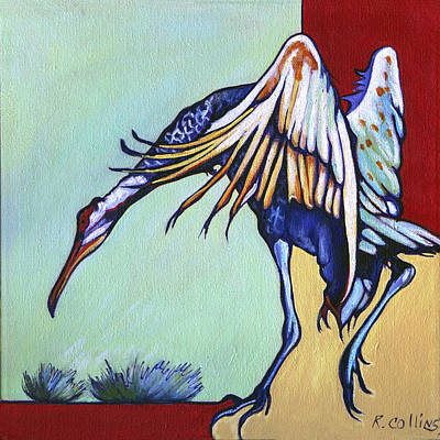 Migrating Painting - Dancing Crane by Rose Collins