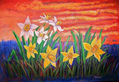 Art Print featuring the painting Dancing Daffodils by Belinda Lawson