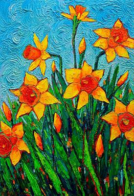 Painting - Dancing Daffodils - Spring Flowers - Original Palette Knife Oil Painting By Ana Maria Edulescu  by Ana Maria Edulescu
