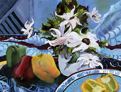 Bell Pepper Painting - Dancing Daisies by Pamela Goedhart