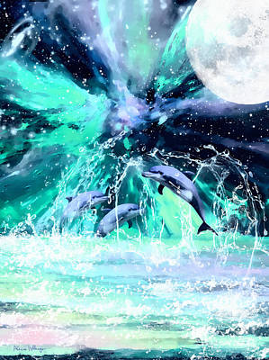 Digital Art - Dancing Dolphins Under The Moon by Alicia Hollinger