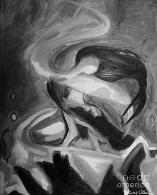 Abstract Oil Painting - Dancing Fire - Black And White by Amy Wilkinson