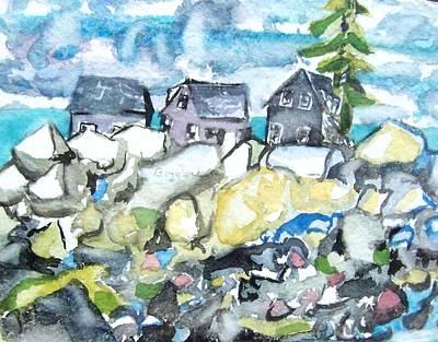 Dancing Fish Houses Art Print by Patricia Bigelow