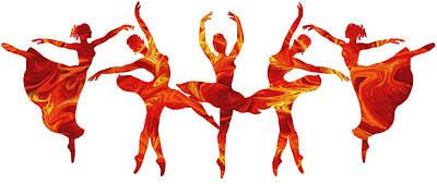 Painting - Dancing Flames Ballerinas by Irina Sztukowski