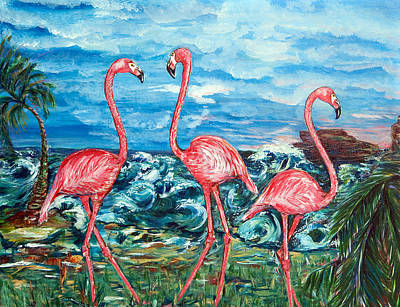 Dancing Flamingos  Art Print