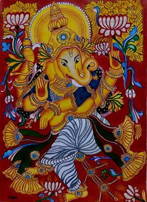 Vinayaka Painting - Dancing Ganapathi by Silpa Saseendran