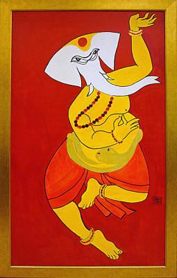 Painting - Dancing Ganesha by Guruji Aruneshvar Paris Art Curator Katrin Suter