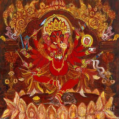 Tibetan Buddhism Painting - Dancing Ganesha by Laura Cameron