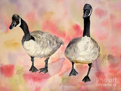 Dancing Geese Art Print