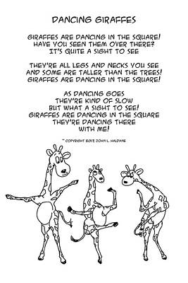 Drawing - Dancing Giraffes by John Haldane