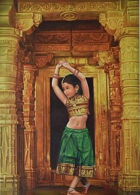 Ear Rings Painting - Dancing Girl by Kamal  Rao