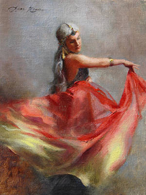 Cloth Painting - Dancing Gypsy by Anna Rose Bain