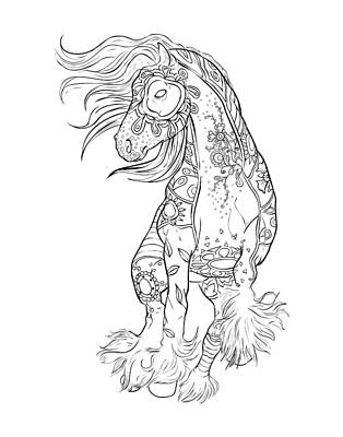 Dancing Gypsy Horse Zentangle Art Print by Cindy Elsharouni