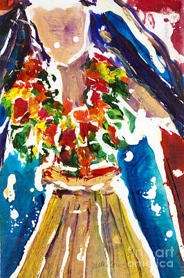 Hawaii Hula Dancer Painting - Dancing Hula by Julie Kerns Schaper - Printscapes