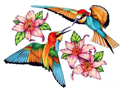 Hummingbird Drawing - Dancing Bee-eaters  by Sheryl Unwin