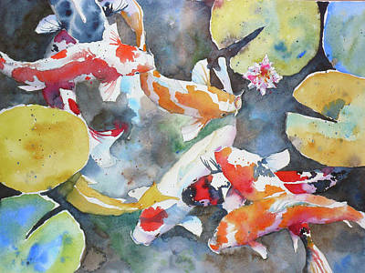Waterscape Painting - Dancing In A Pond by Andre MEHU