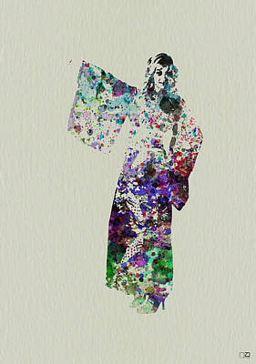 Dancing Girl Painting - Dancing In Kimono by Naxart Studio