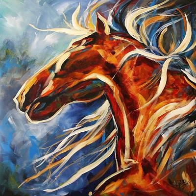 Contemporary Horse Painting - Dancing In The Moonlight by Laurie Pace