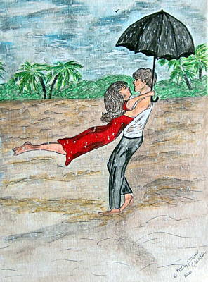 Dancing In The Rain On The Beach Art Print