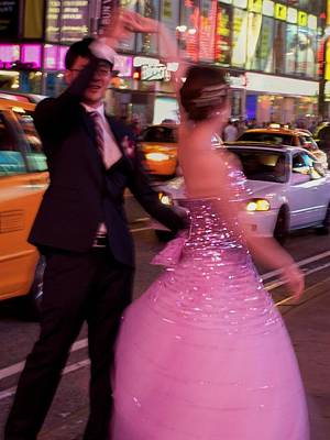 Dancing In Times Square Art Print by Vijay Sharon Govender