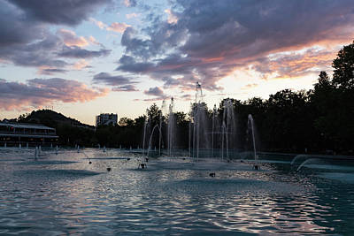 Photograph - Dancing Jets And Music Sunset - Plovdiv Singing Fountains by Georgia Mizuleva