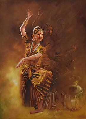 Kathakali Painting - Dancing Lady 2 by Kamal  Rao