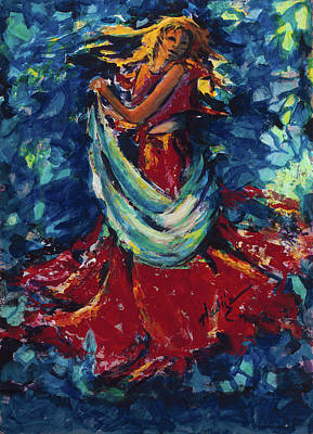 Lady In Red Painting - Dancing Lady In Red by Mary DuCharme