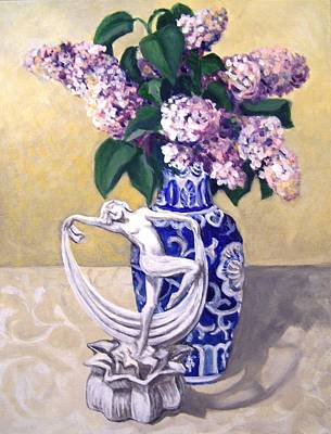 Art Print featuring the painting Dancing Lilacs by Laura Aceto