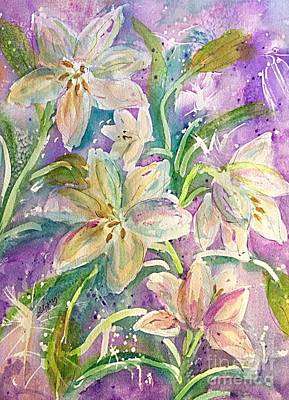 Painting - Dancing Easter Lilies by Ellen Levinson