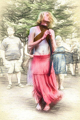 Digital Art - Dancing Man In A Skirt by John Haldane