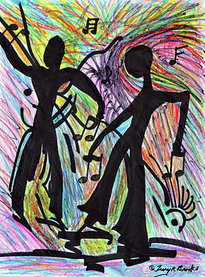 Drawing - Dancing Men By Terry R. Brooks by Ben Upham