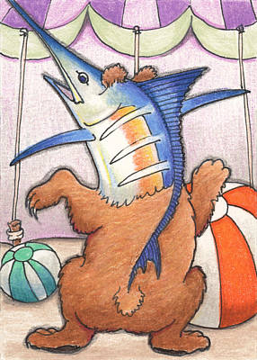 Artist Trading Cards Drawing - Dancing Merlbear by Amy S Turner