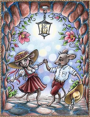Drawing - Dancing Mice by Christine Karron