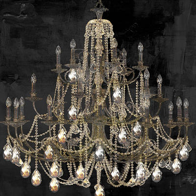 Lit Chandelier Art Print