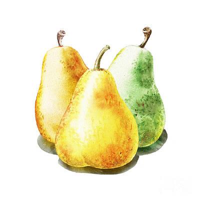 Country Kitchens Painting - Dancing Pears by Irina Sztukowski