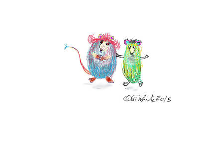 Maine Farms Drawing - Dancing Pickles by Little Dove  Doodles