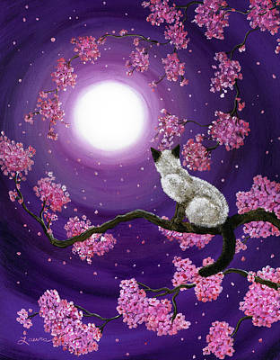 Kitten Painting - Dancing Pink Petals by Laura Iverson