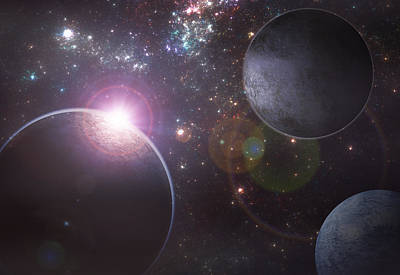 Exoplanet Digital Art - Dancing Planets by Martin Capek