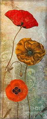 Orange Poppy Painting - Dancing Poppies II by Mindy Sommers