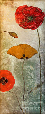 Warm Tones Painting - Dancing Poppies IIi by Mindy Sommers